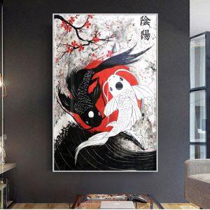 Poster Japonais Koi Yin Yang