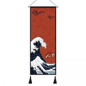 Tableau Japonais Vague & Carpe