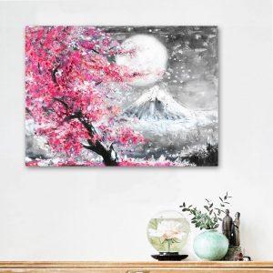 Poster Japonais Cerisier & Mont Fuji