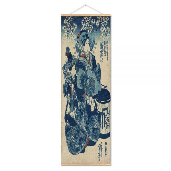 Tableau Japonais Geisha Bleu