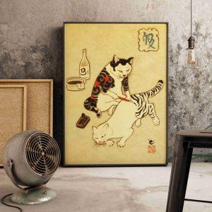 Poster Japonais Chat Tigré
