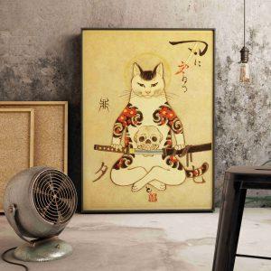 Poster Japonais Chat & Katana