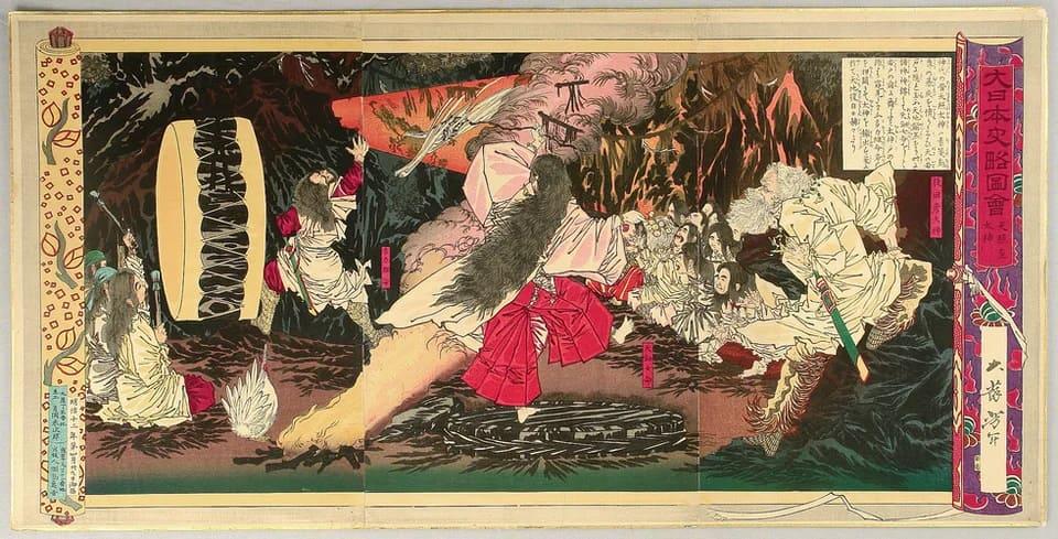Tsukioka Yoshitoshi organise une grande fête avec de la musique et de la danse pour faire sortir Amaterasu de sa grotte.