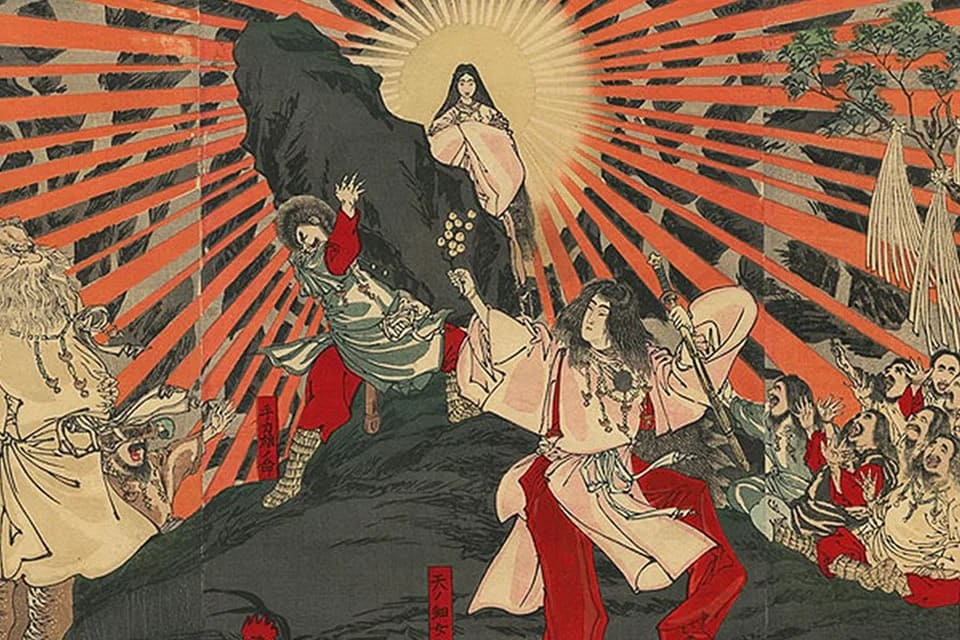 La gravure sur bois de Shunsai Toshimasa, datant du 19e siècle, représente la déesse japonaise du soleil, Amaterasu, sortant de sa grotte.