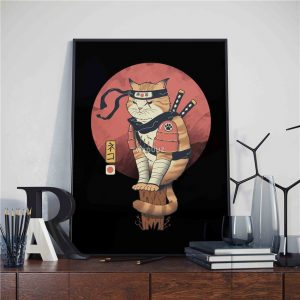Poster Japonais Chat Samouraï