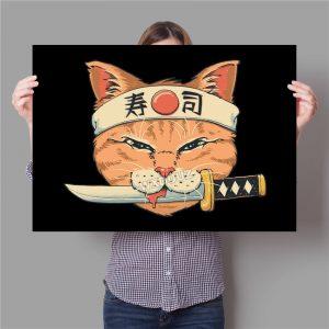 Poster Japonais Chat Sabré Vintage