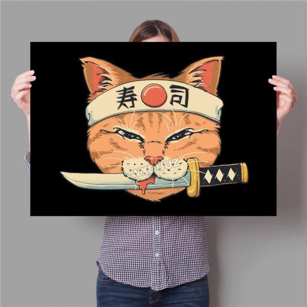 Poster Chat Japonais Vintage