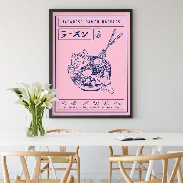 Poster Japonais Chat Bold de Ramen